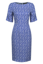 TEST PRODUCT DRESS HORIZONTAL -  Sapphire/Ivory print dress in Matelasse - Angie