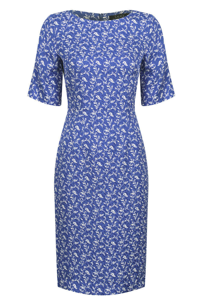 Sapphire/Ivory print dress in Matelasse - Angie