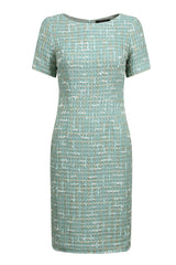 green jade tweed dress by mother of the bride designer lalage beaumont