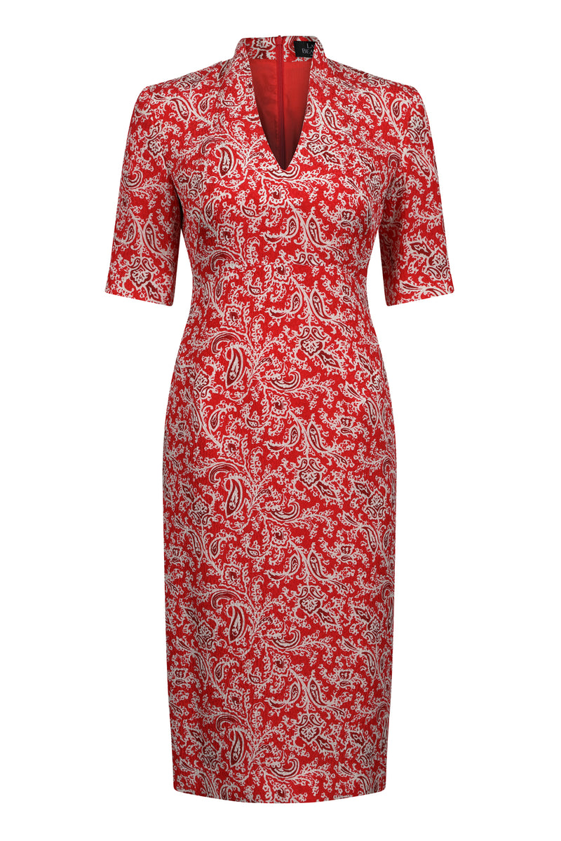 Scarlet print business dress