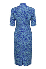 designer mother of the bride dress in sapphire