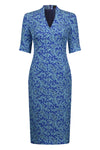 Summer Brocade Sky Dress with Elbow length sleeve - Angie