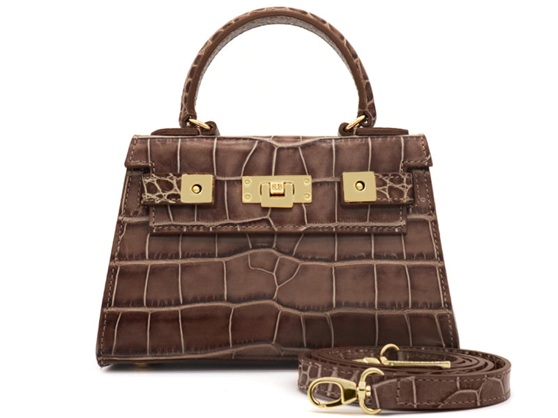 Maya Mignon 'Croc' Print Leather Handbag - Taupe