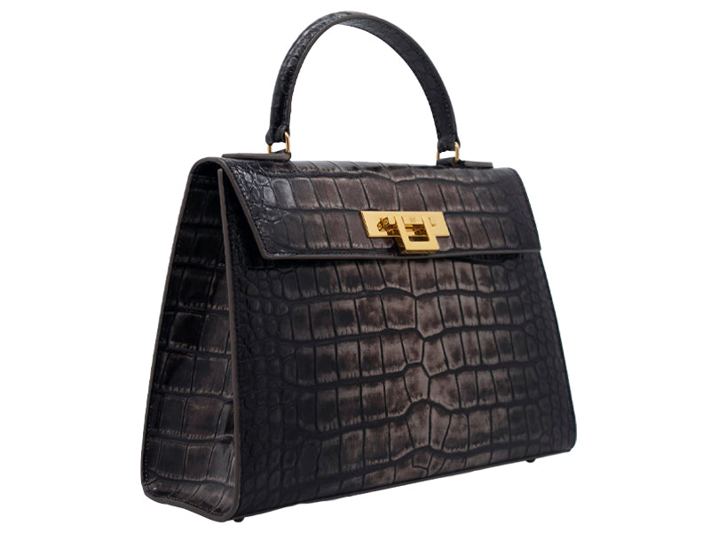 Fonteyn Large 'Croc' Print Leather Handbag - Aviator