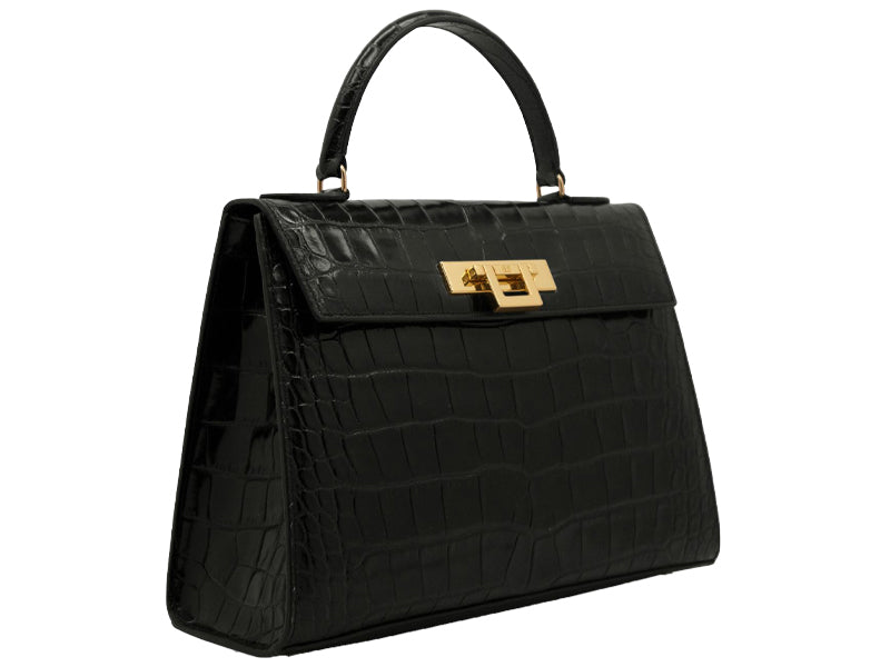 Fonteyn Large 'Croc' Print Leather Handbag - Black