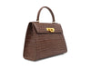 Fonteyn Large - 'Croc Print' Leather Handbag - Taupe