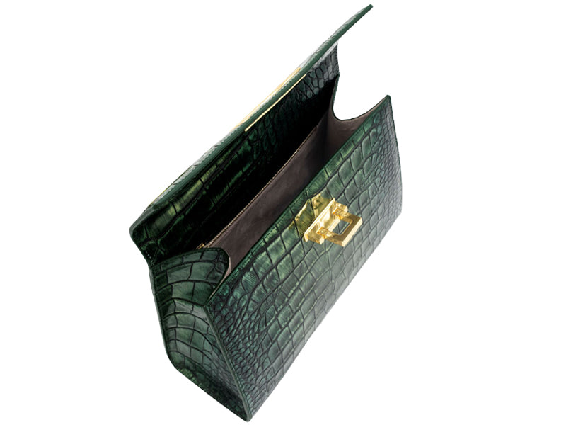 Fonteyn Large 'Croc' Print Leather Handbag - Metallic Green