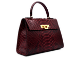 Fonteyn Large Pythonskin Handbag - Wine