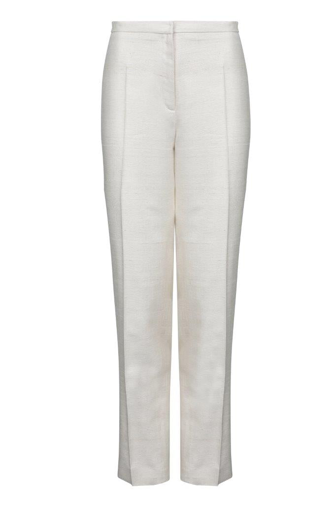 raw silk latte designer work trousers for women