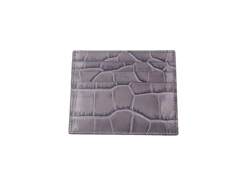 Card Holder 'Croc' Print Leather - Light Grey