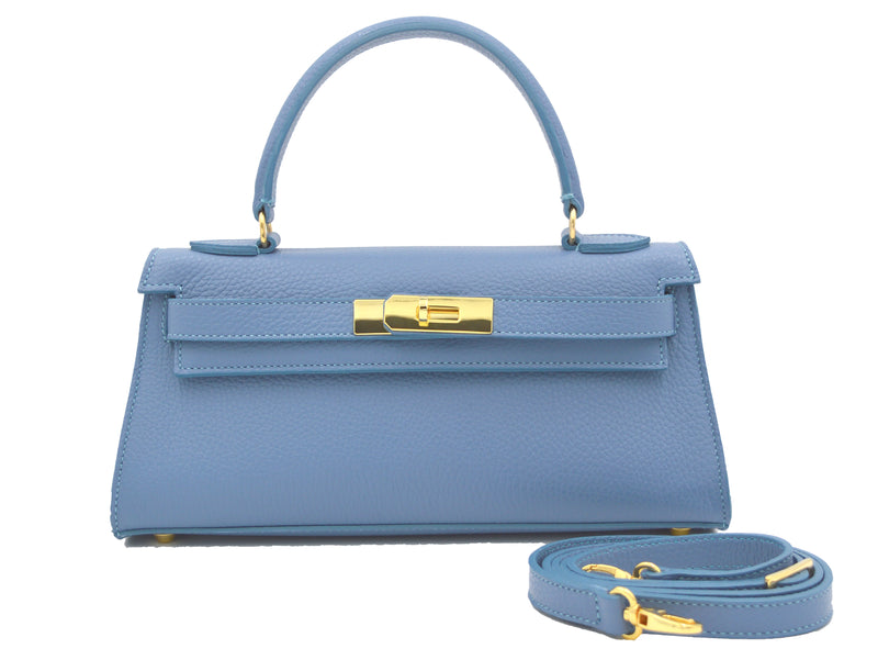 Manon East West - Alce leather Handbag - Bluebell