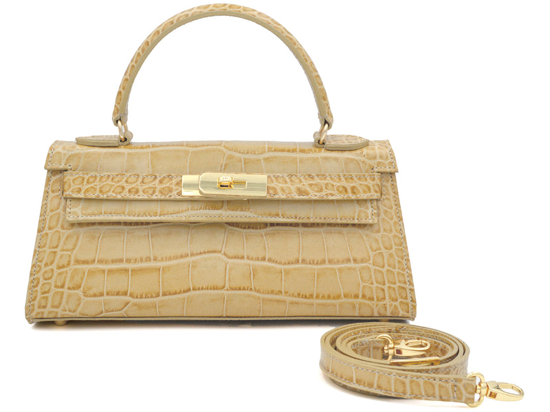Manon East West - 'Croc Print' Leather Handbag - Almond