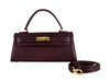 Manon East West 'Lizard' Print Leather Handbag - Wine With Strap