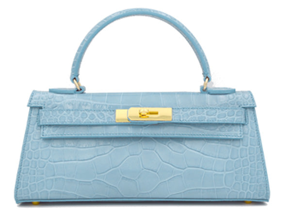 Manon East West - 'Croc Print' Leather Handbag - Bluebell