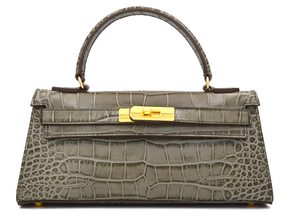 Manon East West - 'Croc Print' Leather Handbag - Sage
