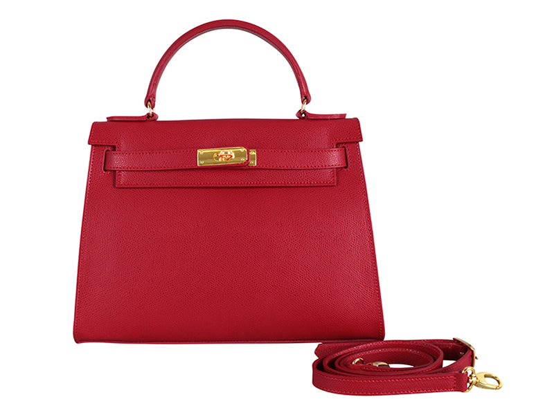 Manon Large Palmellato Leather Handbag With Strap - Red
