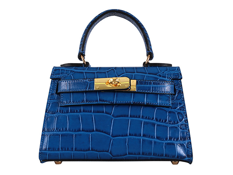 Manon Mignon 'Croc' Print Leather Handbag - Royal