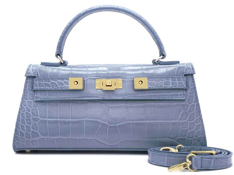 Maya East West 'Croc' Print Leather Handbag - Bluebell