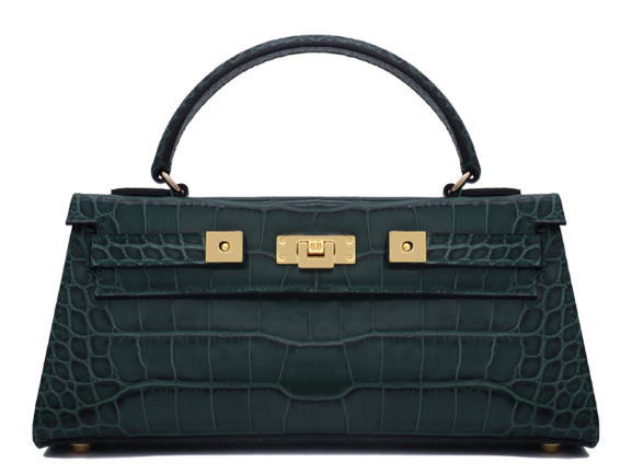Maya East West 'Croc' Print Leather Handbag - Dark Green
