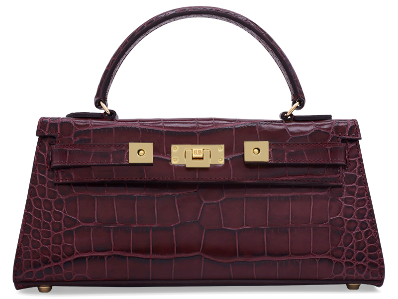 Maya East West 'Croc' Print Leather Handbag - Wine