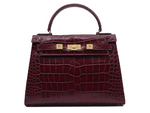 TEST PRODUCT HANDBAG LARGE HORIZONTAL Large 'Croc' Print Leather Handbag - Wine