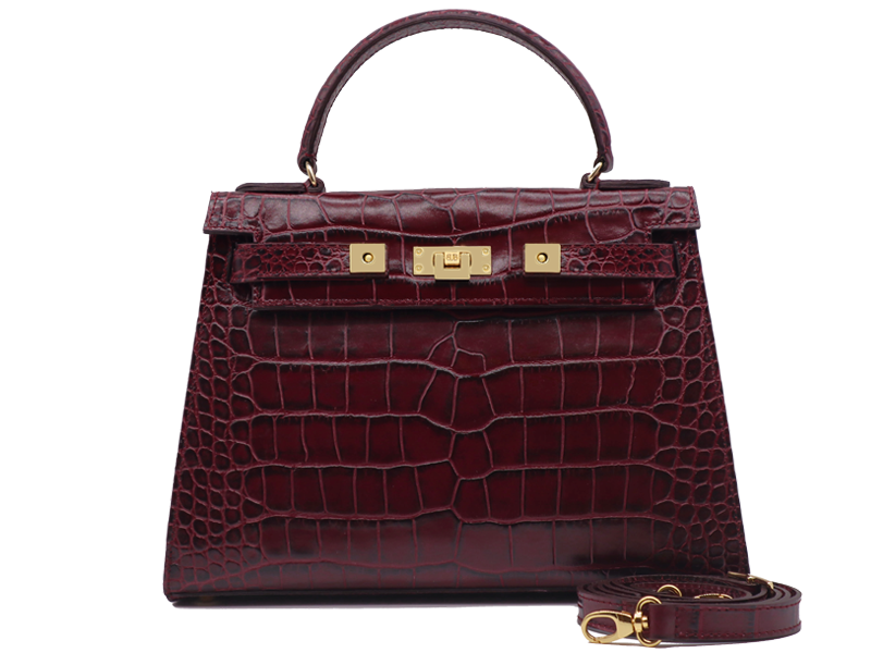 Maya Large 'Croc' Print Leather Handbag - Wine