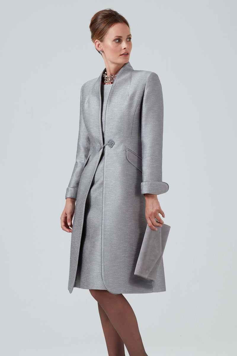 Mother of the bride silver dress coat