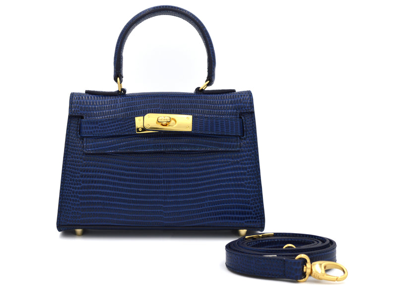 Manon Mignon 'Lizard Print' Leather Handbag - Navy