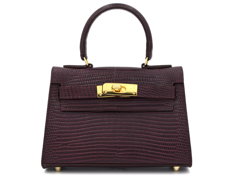 Manon Mignon 'Lizard Print' Leather Handbag - Wine