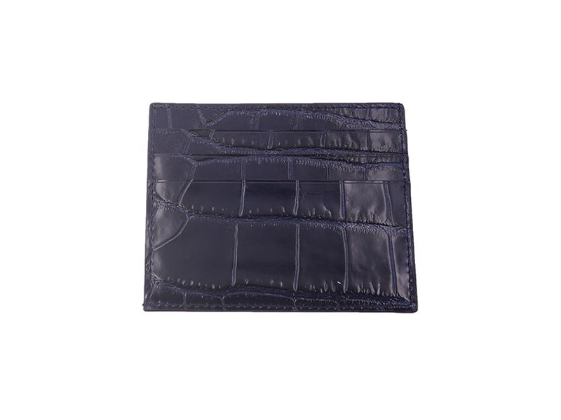Card Holder 'Croc' Print Leather - Navy
