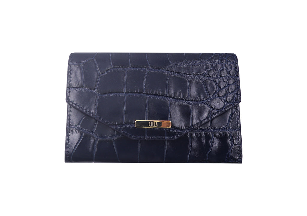 Wallet 'Croc Print' Leather - Navy