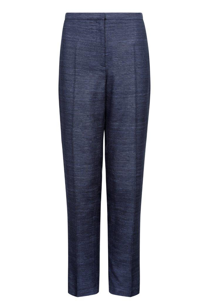 Raw Silk trousers in Navy - Pandora
