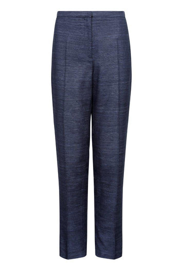 Raw Silk trousers in Navy -Pandora