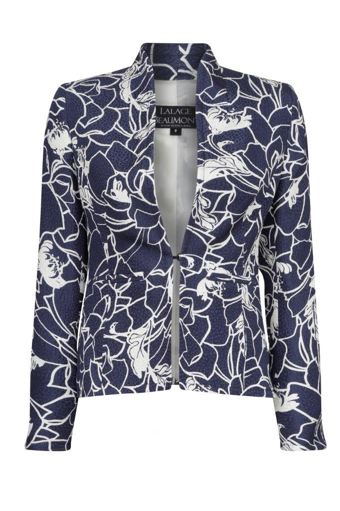 Business Jacket in Navy and Ivory Print - Diana