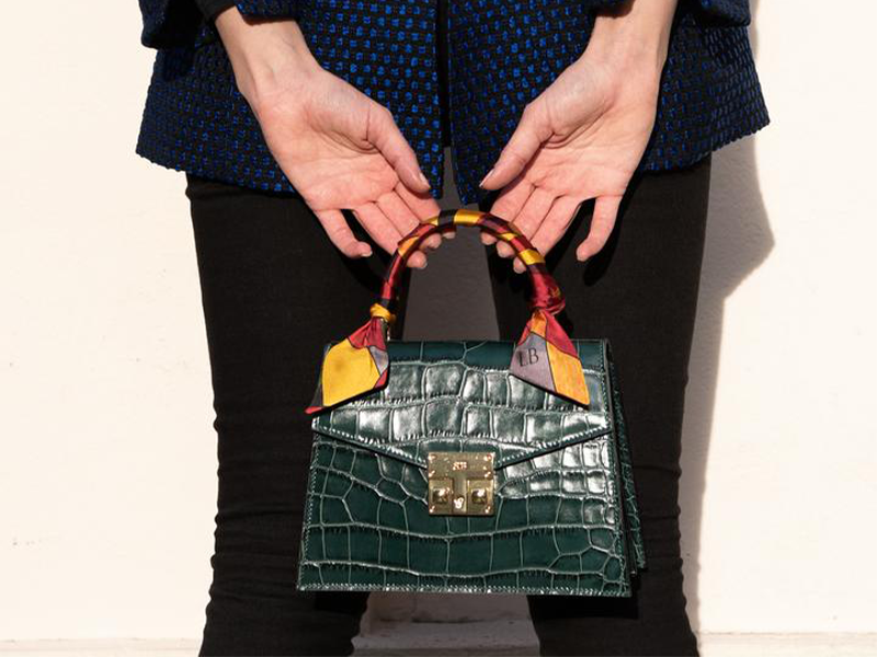 Odette Mini 'Croc' Print Leather Handbag - Green