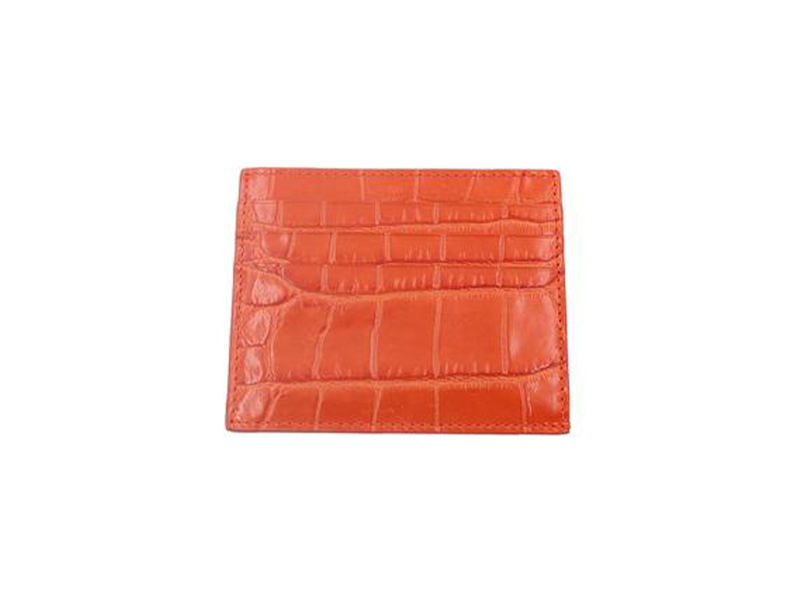 Card Holder 'Croc' Print Leather - Orange