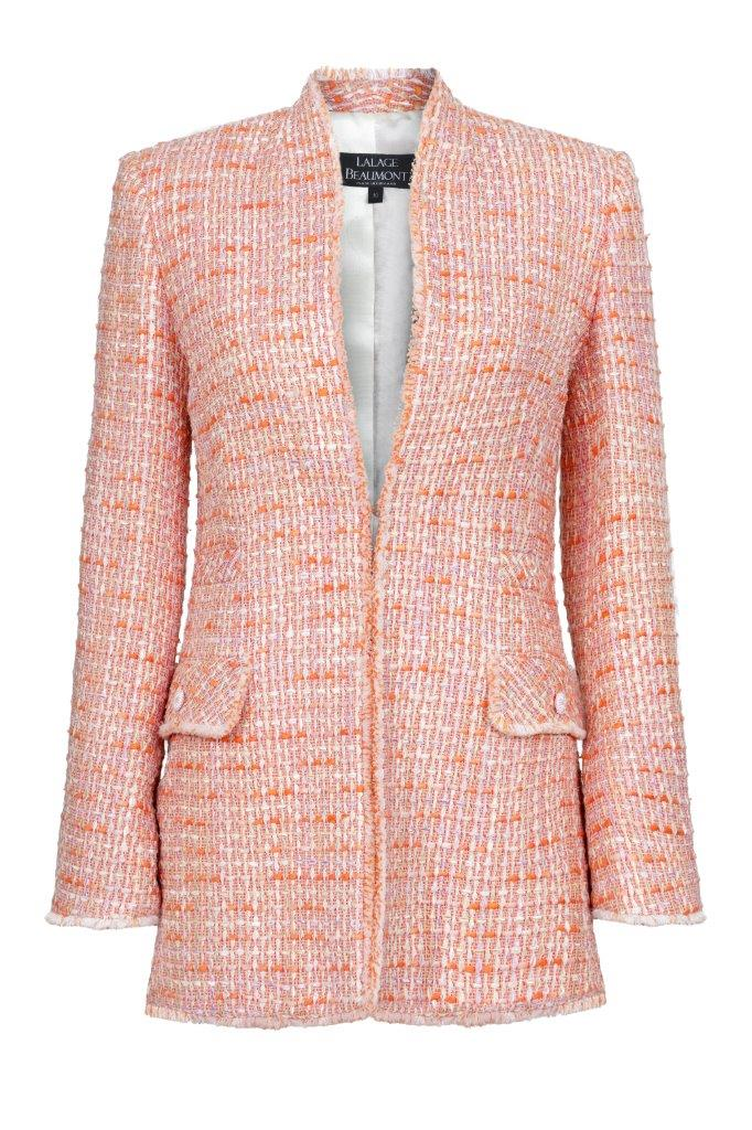 Fringe Edge Tweed Jacket in Coral - Evelyn