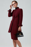 7/8 lenght double wool crepe coat in burgundy - Mia