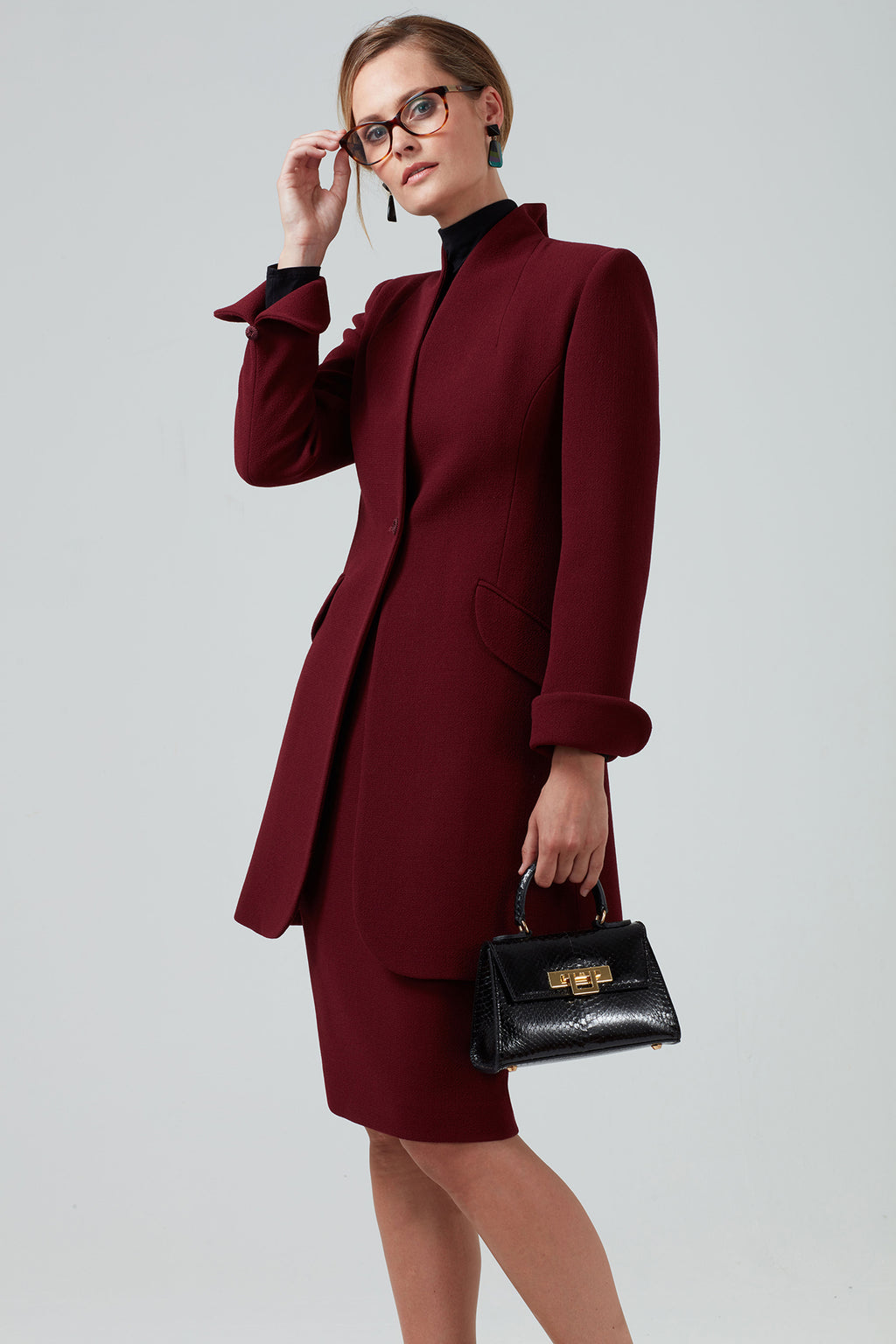 7/8 Length Double Wool Crepe Coat in Burgundy - Mia