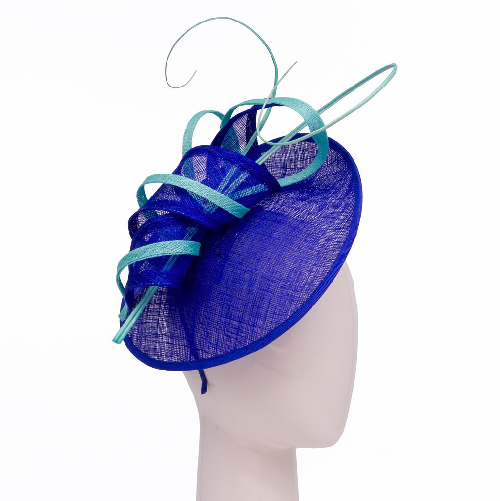 Small disc hat with scroll and quill trim in Sapphire and Aqua
