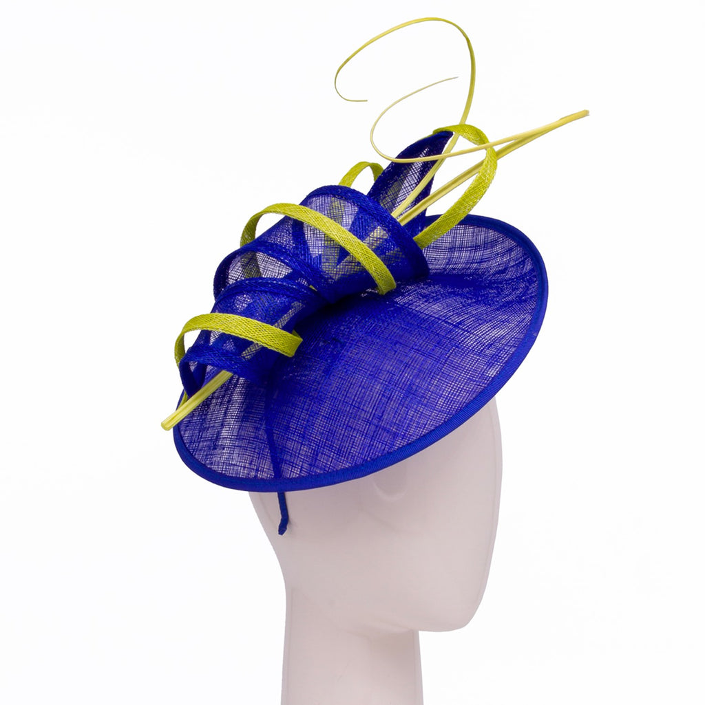 Small disc hat with scroll and quill trim in Sapphire and Lime