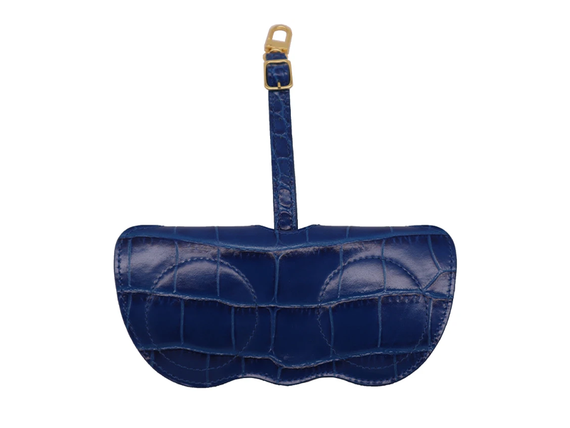 Sunglasses Holder 'Croc' Print Leather - Cobalt