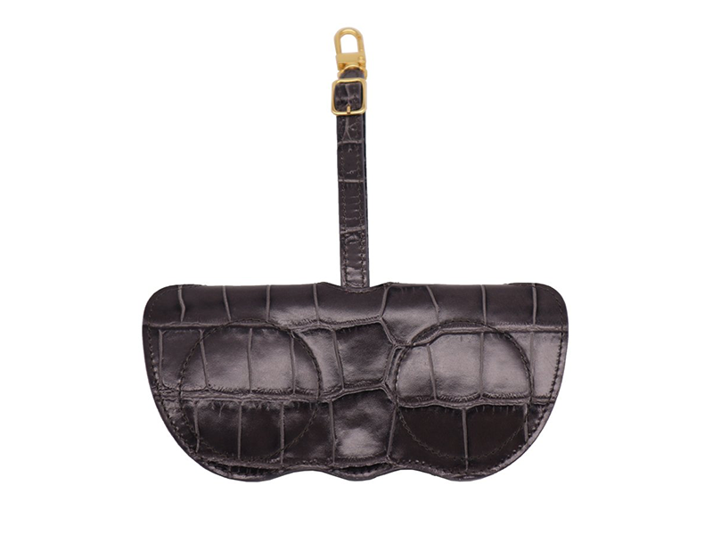 Sunglasses Holder 'Croc' Print Leather - Dark Grey