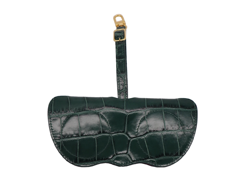 Sunglasses Holder 'Croc' Print Leather - Green