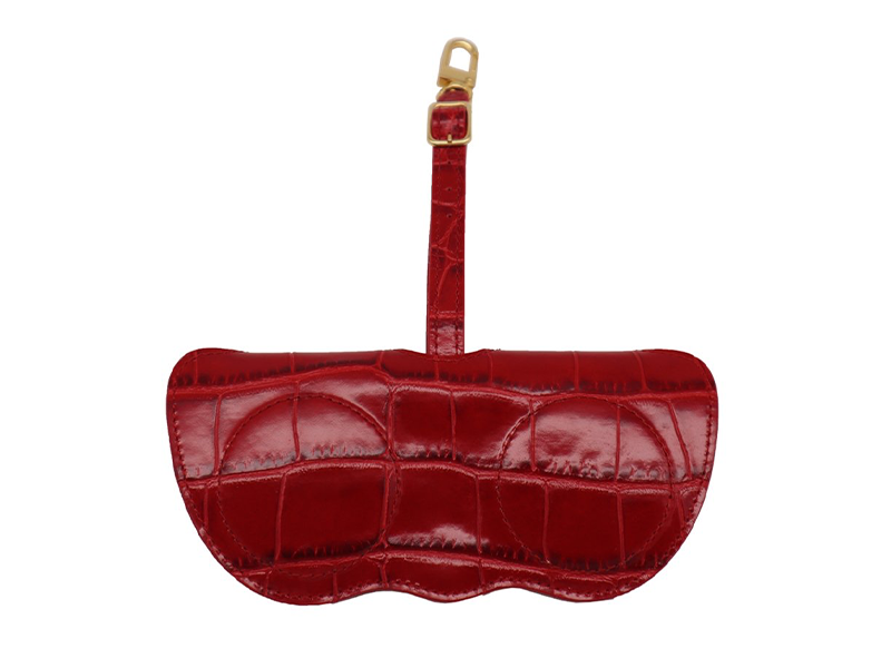 Sunglasses Holder 'Croc' Print Leather - Red