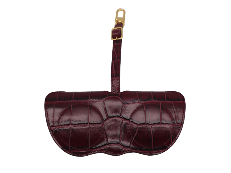 Sunglasses Holder 'Croc' Print Leather - Wine