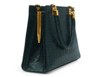 Sylphide 'Croc' Print Leather Handbag - Dark Green