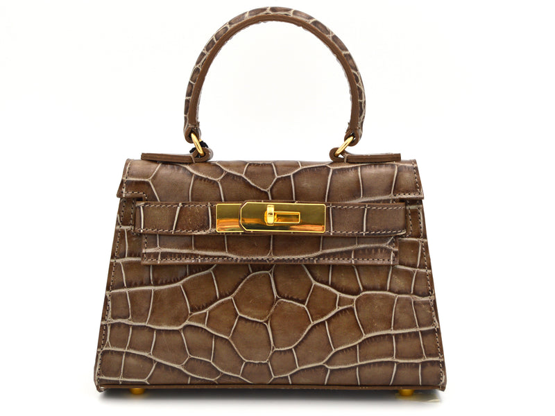 Manon Mignon - 'Croc Print' Leather Handbag - Taupe