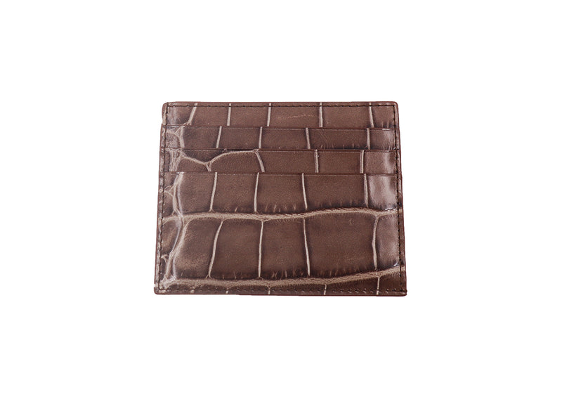 Card Holder 'Croc' Print Leather - Taupe