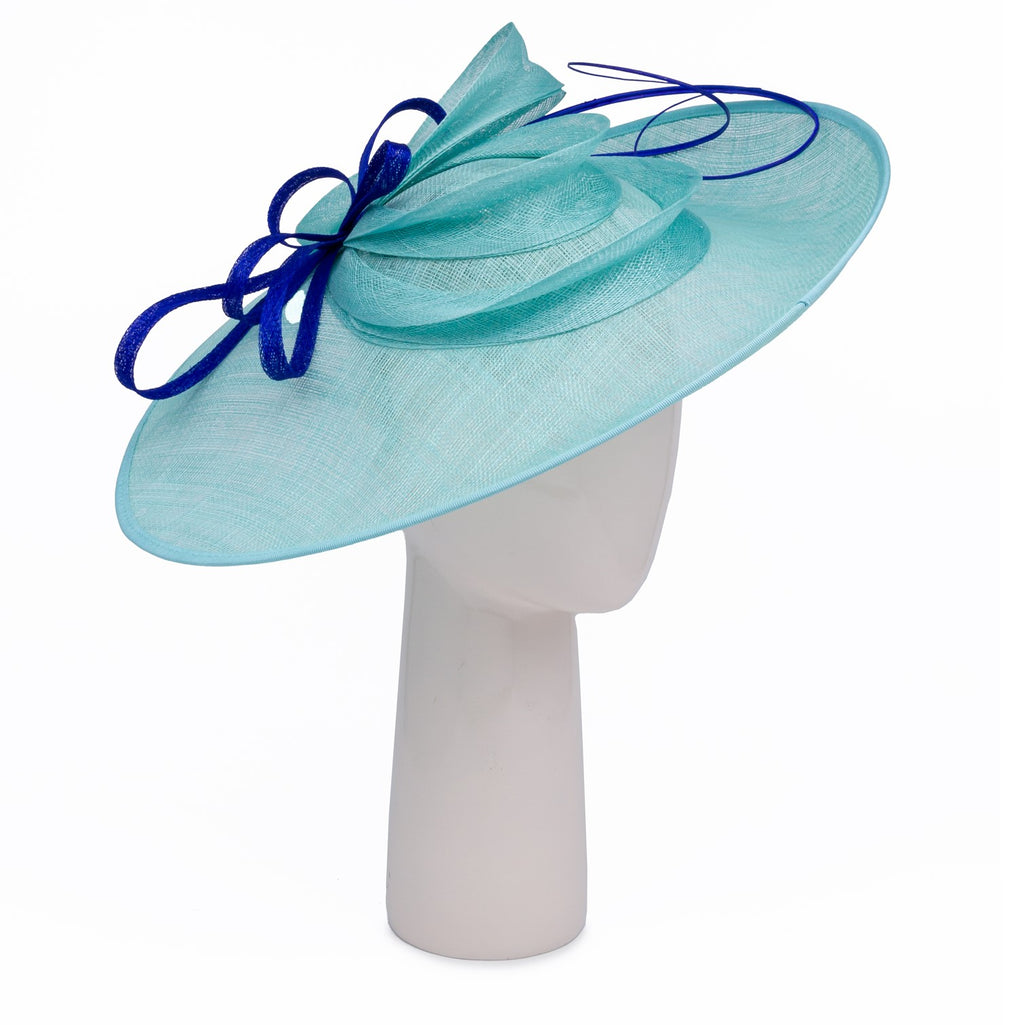 Teardrop Disc Hat with Sinamay Swirls in Aqua and Sapphire